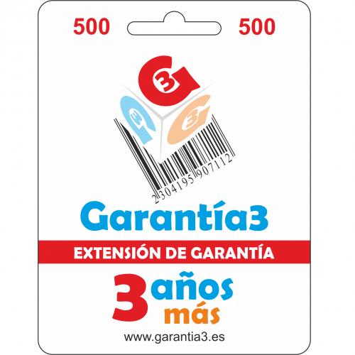 Garantía3 Extensión de garantía del Servicio Técnico 3 años Hasta 500 Euro