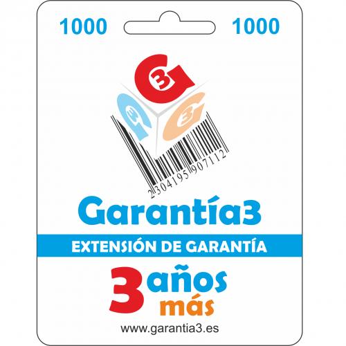 Garantía3 Extensión de garantía del Servicio Técnico 3 años Hasta 1000 Euro