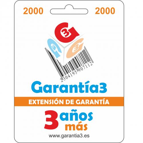 Garantía3 Extensión de garantía del Servicio Técnico 3 años Hasta 2000 Euro
