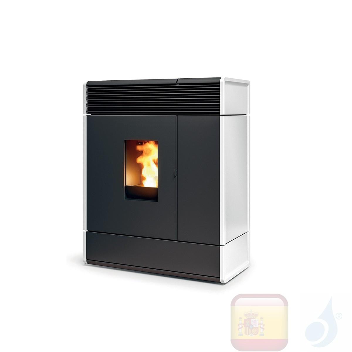 Estufa termo de pellets MCZ 16.1 kW Aki Hydromatic 16 M1 Blanco