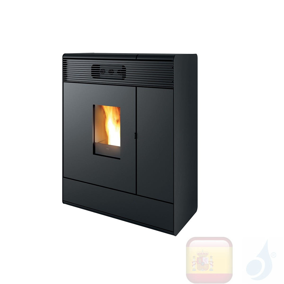 Estufa termo de pellets MCZ 16.1 kW Aki Hydromatic 16 M1 metal Negro