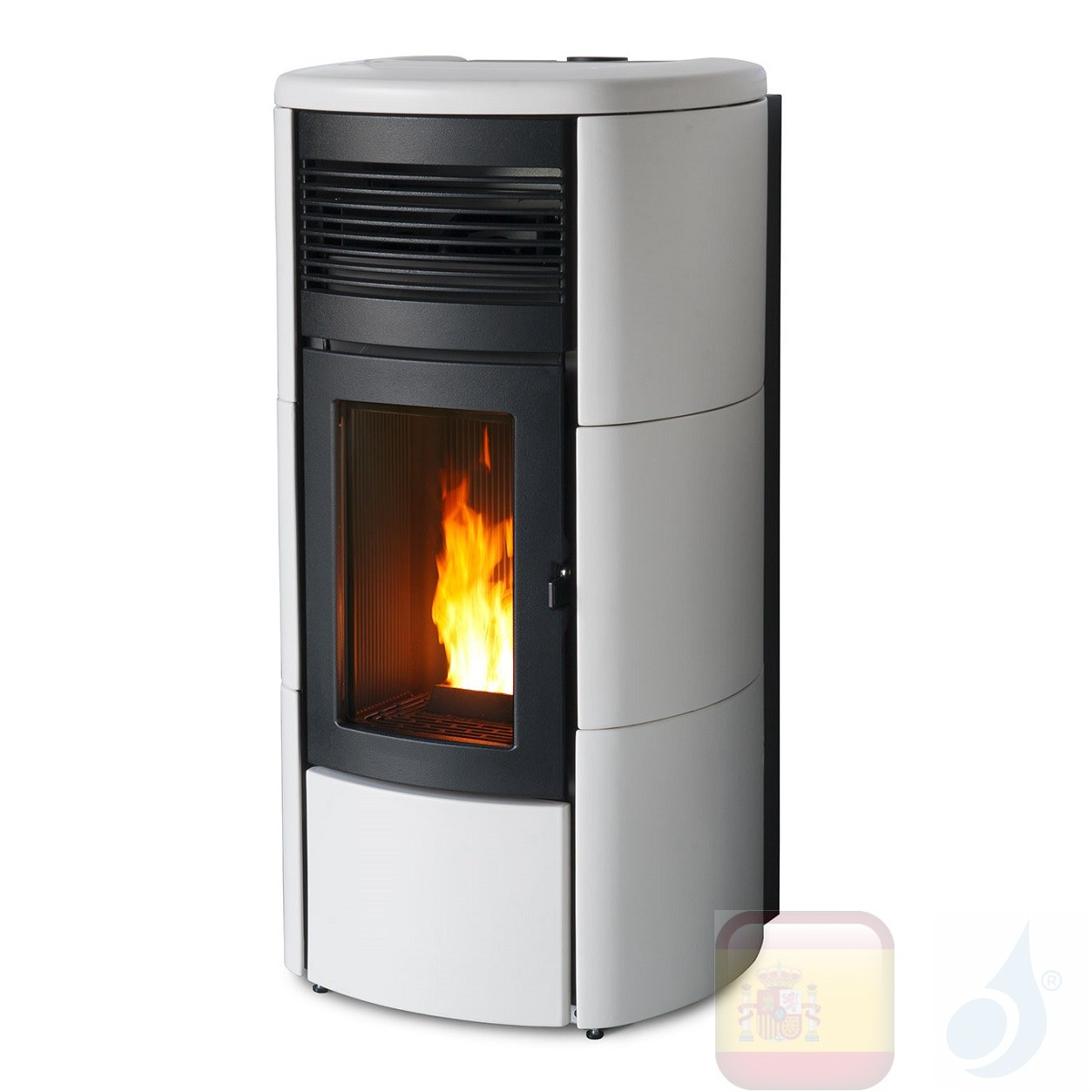 Estufa de pellets MCZ 13.9 kW Club Comfort Air 14 UP! M1 Blanco
